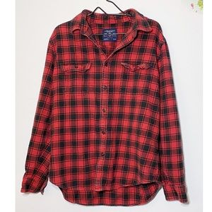 American Eagle Plaid Button Down XL Athletic Red